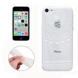 coque iPhone 5C Silicone motif circulaire - transparente / blanche