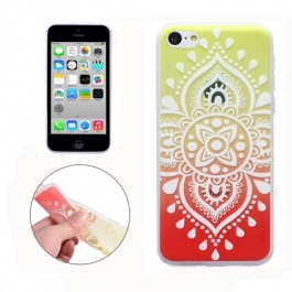 coque iPhone 5C Silicone mandala - transparente / rouge jaune