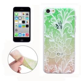 coque iPhone 5C Silicone fine motif floral - transparente / rose vert