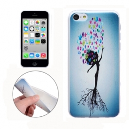 coque iPhone 5C Silicone fine motif femme - Blanche / bleu