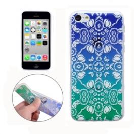 coque iPhone 5C Silicone fine motif - transparente / bleu vert