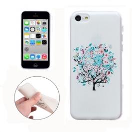 coque iPhone 5C Silicone fine motif arbre - Blanche