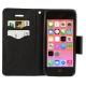 Housse iPhone 5C rabat porte-cartes intégré -Noir