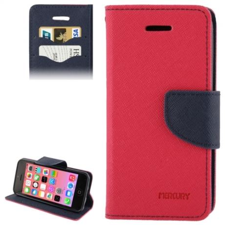housse iPhone 5C rabat porte-cartes intégré - Magenta / Noir