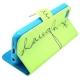 """housse iPhone 5C rabat porte-cartes intégré motif """"Laugh"""" - vert"""