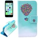 """Housse iPhone 5C rabat porte-cartes intégré motif """"maison ballons"""" - bleu"""