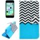 """housse iPhone 5C rabat porte-cartes intégré motif """"stries"""" - bleu"""