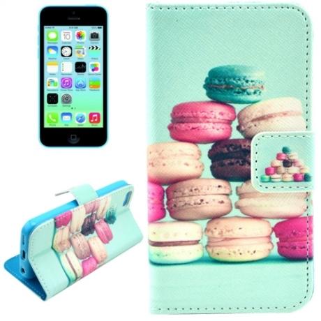 "housse iPhone 5C rabat porte-cartes intégré motif ""macaron"" - vert"