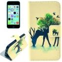 """Housse iPhone 5C rabat porte-cartes intégré motif """"cerf"""" - beige"""