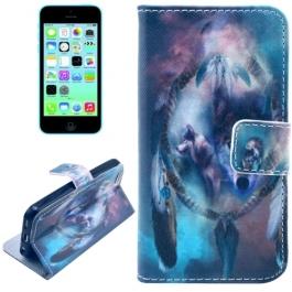 housse iPhone 5C rabat porte-cartes intégré motif indien - bleu
