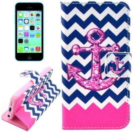 "housse iPhone 5C rabat porte-cartes intégré motif ""ancre marine"" - Rose / Bleu"