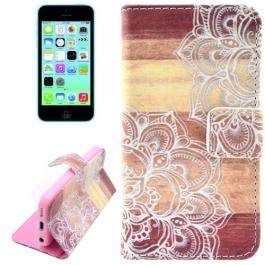 Housse iPhone 5C rabat porte-cartes intégré motif floral
