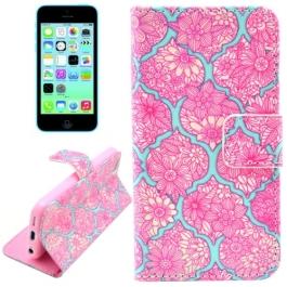 housse iPhone 5C rabat porte-cartes intégré motif floral - Rose / Bleu