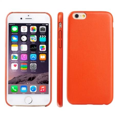 coque iphone 6 6s silicone motif cuir orange