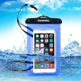 housse waterproof iPhone 5 / 5S / SE HAWEEL transparente - bleu