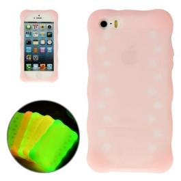 coque iPhone 5 / 5S / SE silicone phosphorescente - rose