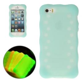coque iPhone 5 / 5S / SE silicone phosphorescente - bleu