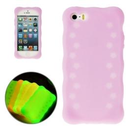 coque iPhone 5 / 5S / SE silicone phosphorescente - violet
