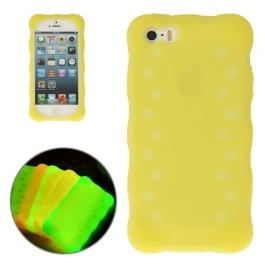 coque iPhone 5 / 5S / SE silicone phosphorescente - jaune