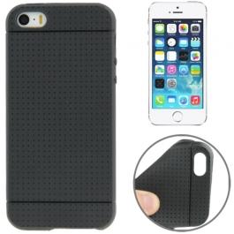 coque iPhone 5 / 5S / SE silicone motif petits points - Noir
