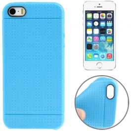 coque iPhone 5 / 5S / SE silicone motif petits points - bleu