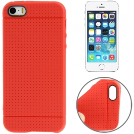 coque iPhone 5 / 5S / SE silicone motif petits points - rouge