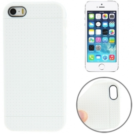 coque iPhone 5 / 5S / SE silicone motif petits points - blanc