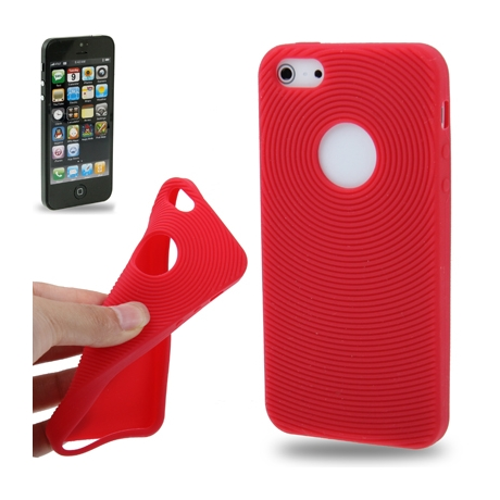coque iphone 5 5s se silicone logo apple rouge