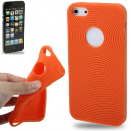 coque iPhone 5 / 5S / SE silicone logo Apple - orange