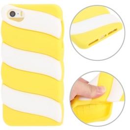 coque iPhone 5 / 5S / SE silicone 3D glace à l'italienne – Blanc / Jaune