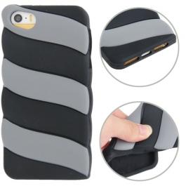 coque iPhone 5 / 5S / SE silicone 3D glace à l'italienne – Noir / Gris