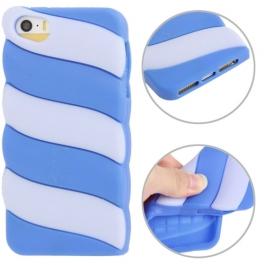 coque iPhone 5 / 5S / SE silicone 3D glace à l'italienne – Bleu / Gris