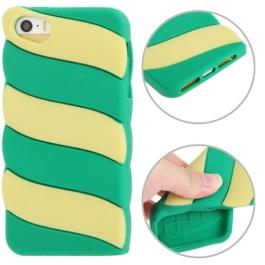 coque iPhone 5 / 5S / SE silicone 3D glace à l'italienne – Vert / Jaune