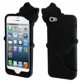 coque iPhone 5 / 5S / SE silicone 3D chat – Noir