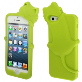coque iPhone 5 / 5S / SE silicone 3D chat – Vert