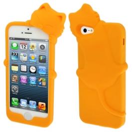 coque iPhone 5 / 5S / SE silicone 3D chat – orange