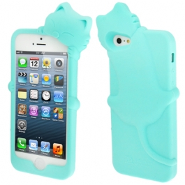 coque iPhone 5 / 5S / SE silicone 3D chat – bleu