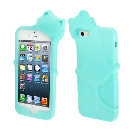 coque iphone 5 5s se silicone 3d chat bleu