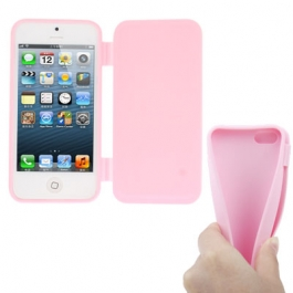coque iPhone 5 / 5S / SE silicone à rabat – Rose