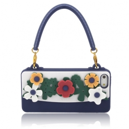 coque iPhone 5 / 5S / SE silicone CLICHE sac a main – bleu marine