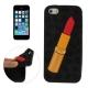 coque iPhone 5 / 5S / SE silicone 3D rouge à lèvre – noir