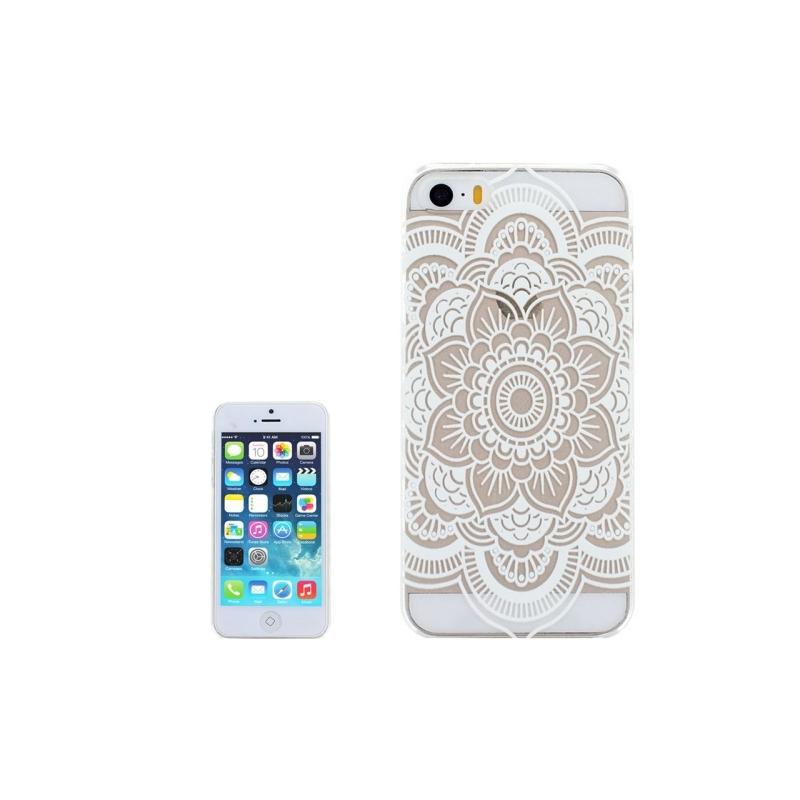 coque iphone 5 5s se transparente blanche motif mandala fleur