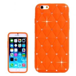 coque iPhone 6 plus / 6S plus silicone matelassé diamant - orange