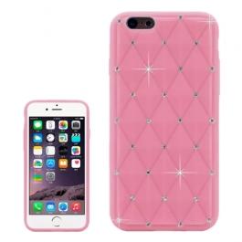 coque iPhone 6 plus / 6S plus silicone matelassé diamant - rose