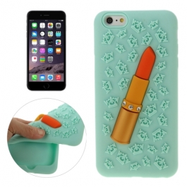 coque iPhone 6 plus / 6S plus silicone 3D rouge à lèvre – vert