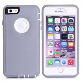 coque iPhone 6 plus / 6S plus bicolore anti-choc - blanc / gris