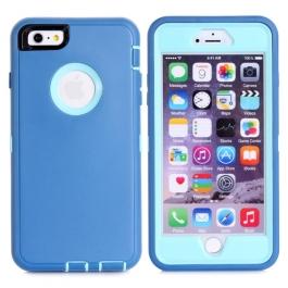 coque iPhone 6 plus / 6S plus bicolore anti-choc - bleu / bleu ciel