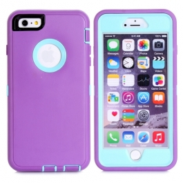 coque iPhone 6 plus / 6S plus bicolore anti-choc - violet / bleu