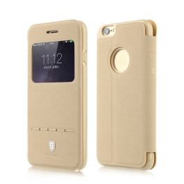 Coque iPhone 6 / 6S BASEUS à rabat tactile cuir - Beige
