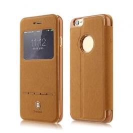 Coque iPhone 6 / 6S BASEUS à rabat tactile cuir - Marron